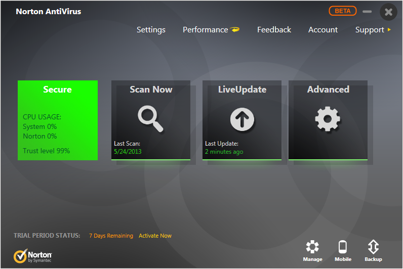 Norton Antivirus beta